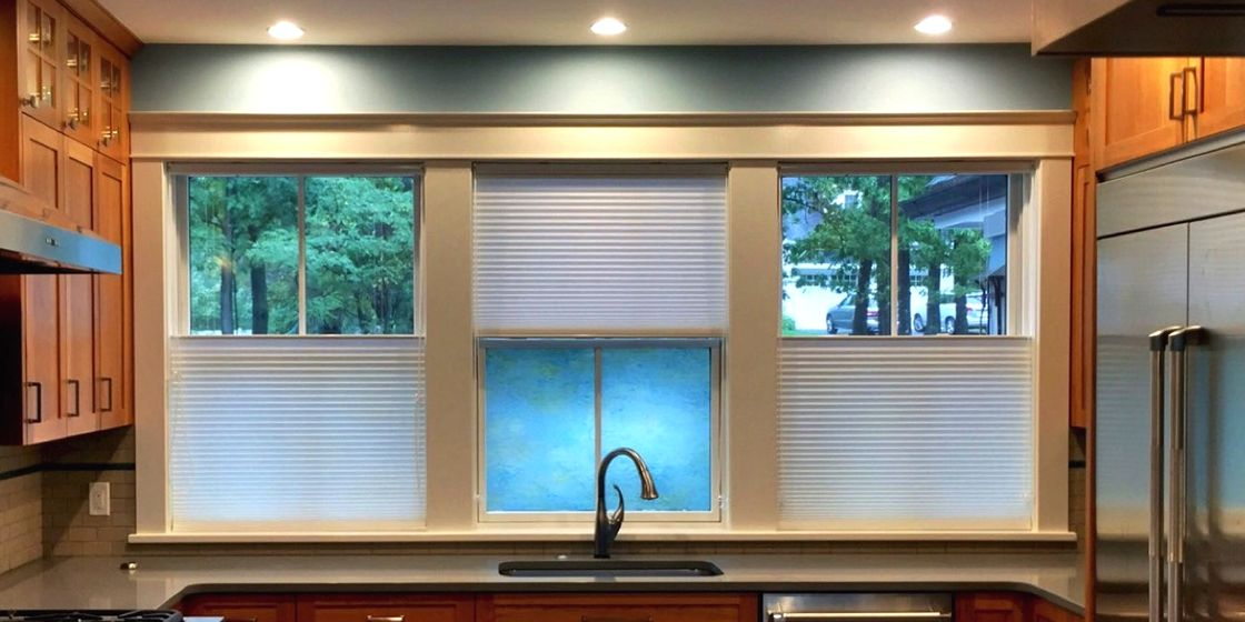 "Cellular Shades - Boston Area - Spun Lace Soft Touch Snow - 9/16"" Cell - Kitchen"