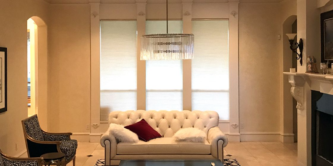 "Cellular Shades - Dallas Area - Translucent Bamboo - 3/4"" Cell - Living Room"
