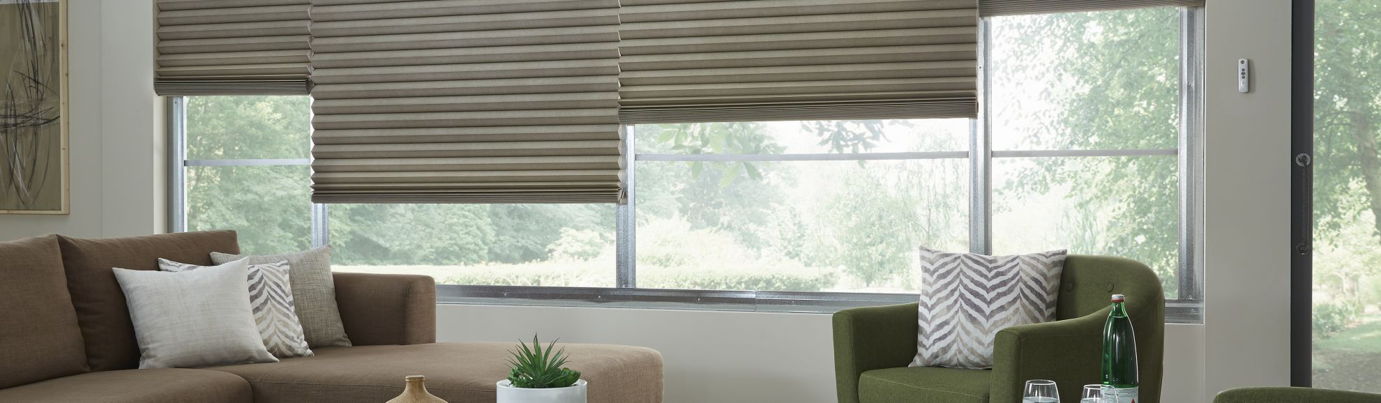 "Cellular Shades - Riten Sandpiper - 4"" Cell - Living Room"