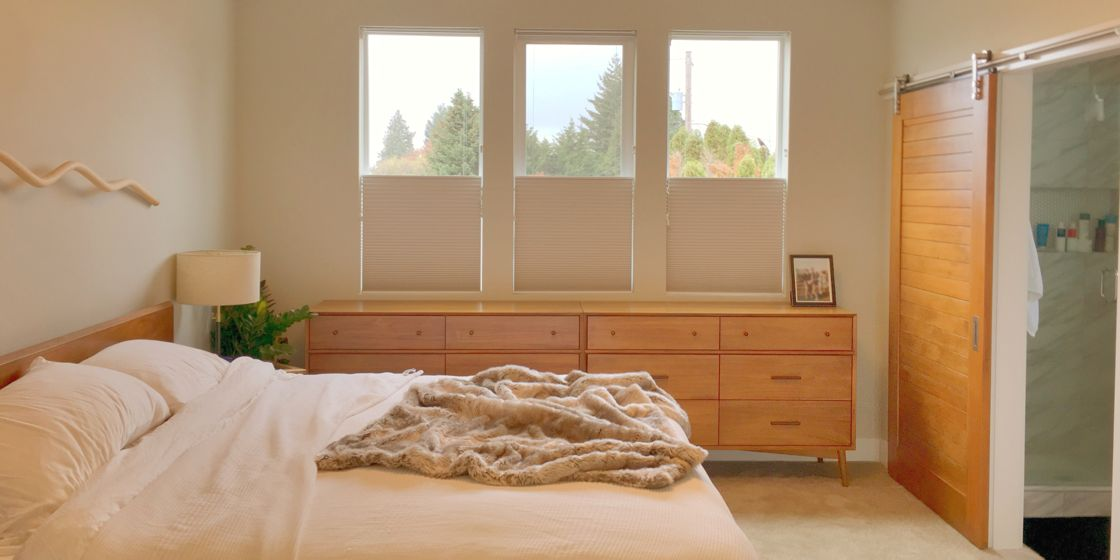 "Cellular Shades - Portland Area - Berk Moonstone - 3/4"" Cell - Bedroom"