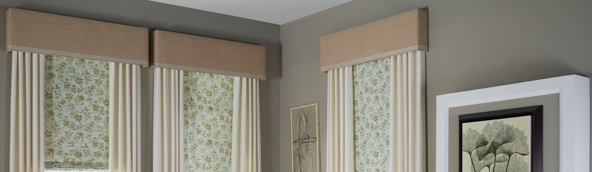 Fabric Cornices - Living Room