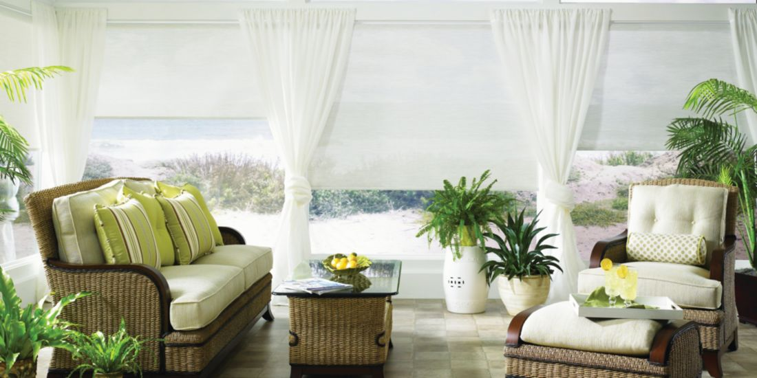 Roller Shades - Katrina White 885 - Living Room