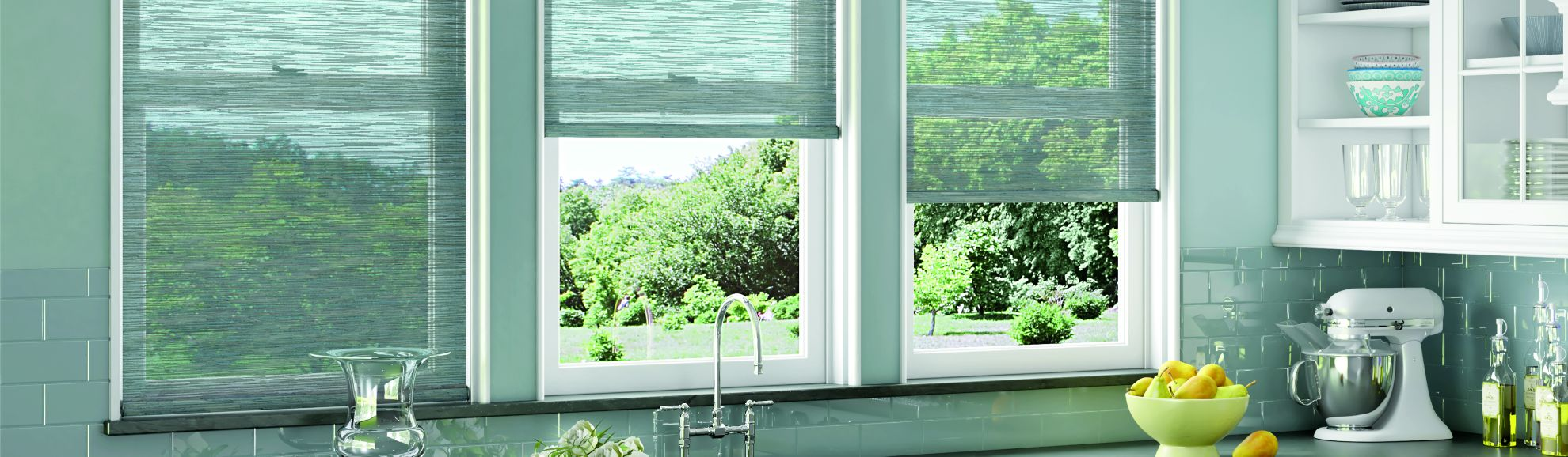 Solar Shades - SheerWeave 4100 10% Openness - Silver Sand 011 - Kitchen