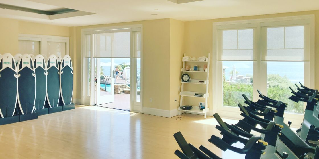Solar Shades - Orange County - SheerWeave 5000 Chenille Marshmallow 089 - Commercial - Fitness