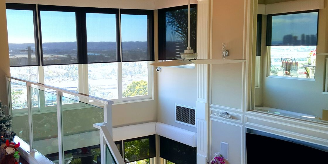 Solar Shades - San Diego Area - NordicScreen 5% Openness - Black Bronze - Living Room