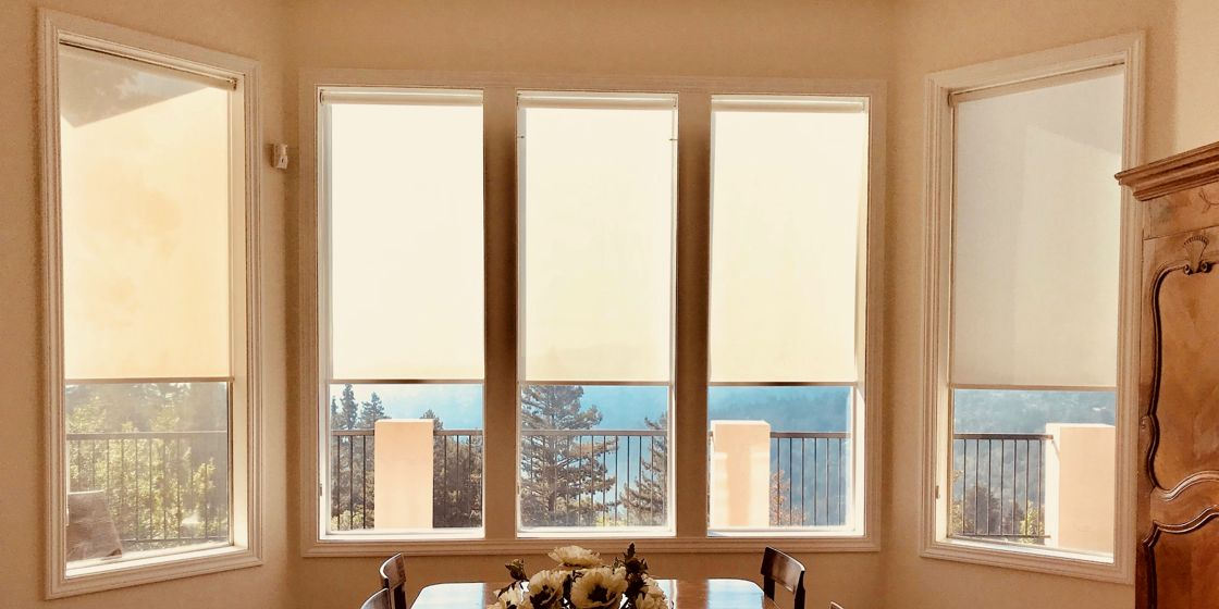 Solar Shades - San Francisco Area - SheerWeave 2410 3% Openness - Pearl - Dining Room