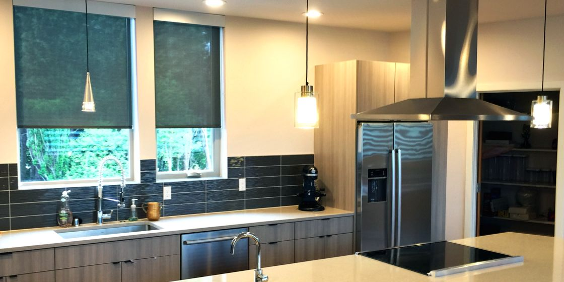 Solar Shades - Seattle Area - Nordic Screen 5% Openness - Pearl Black - Kitchen