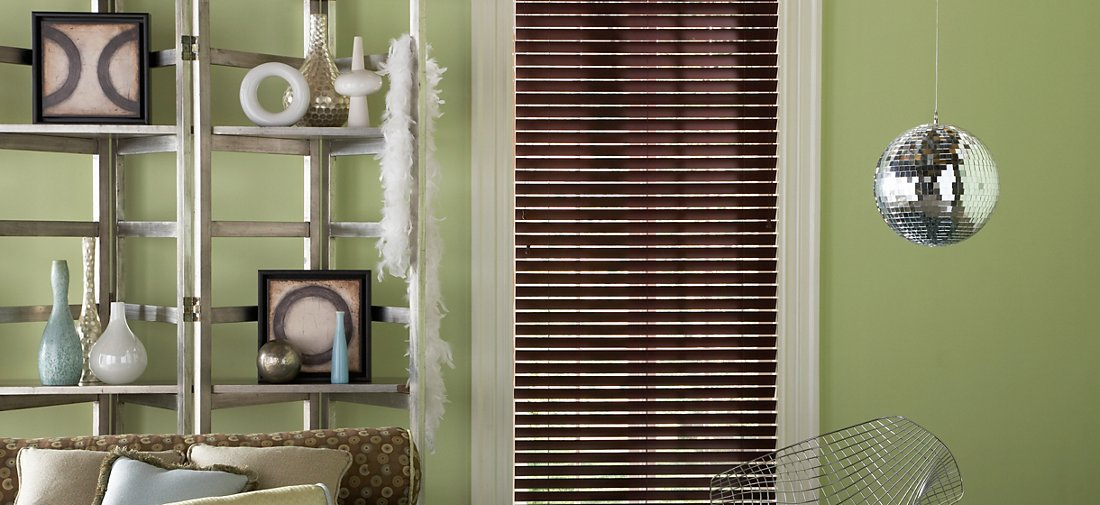 Faux Wood Blinds - Brick 257 - Living Room