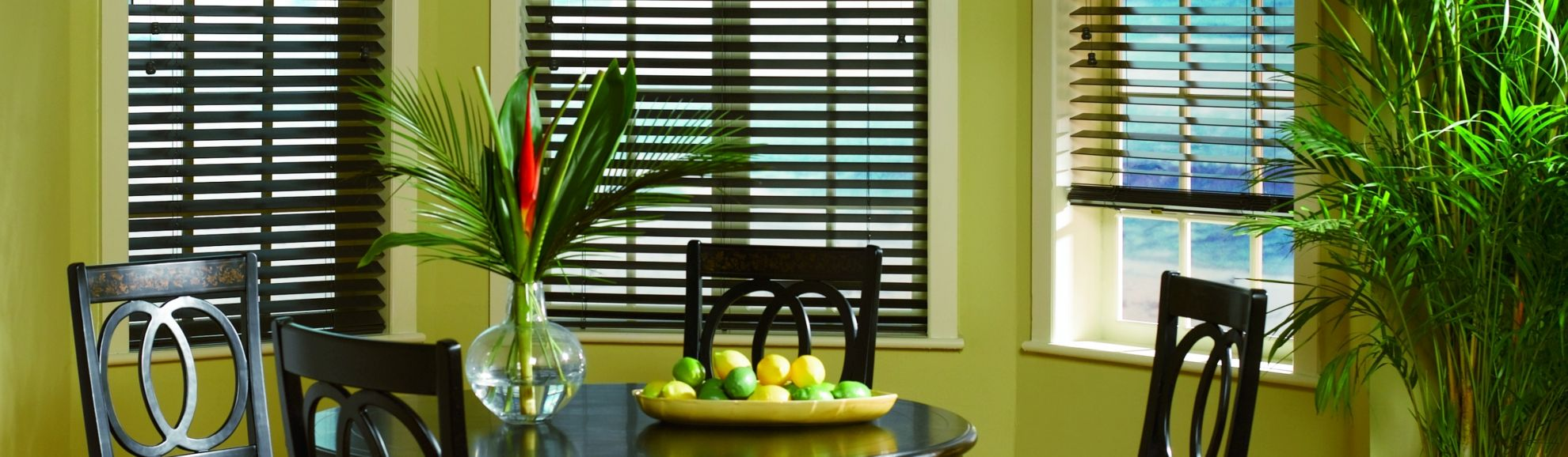 Faux Wood Blinds - Black 112 - Breakfast Nook