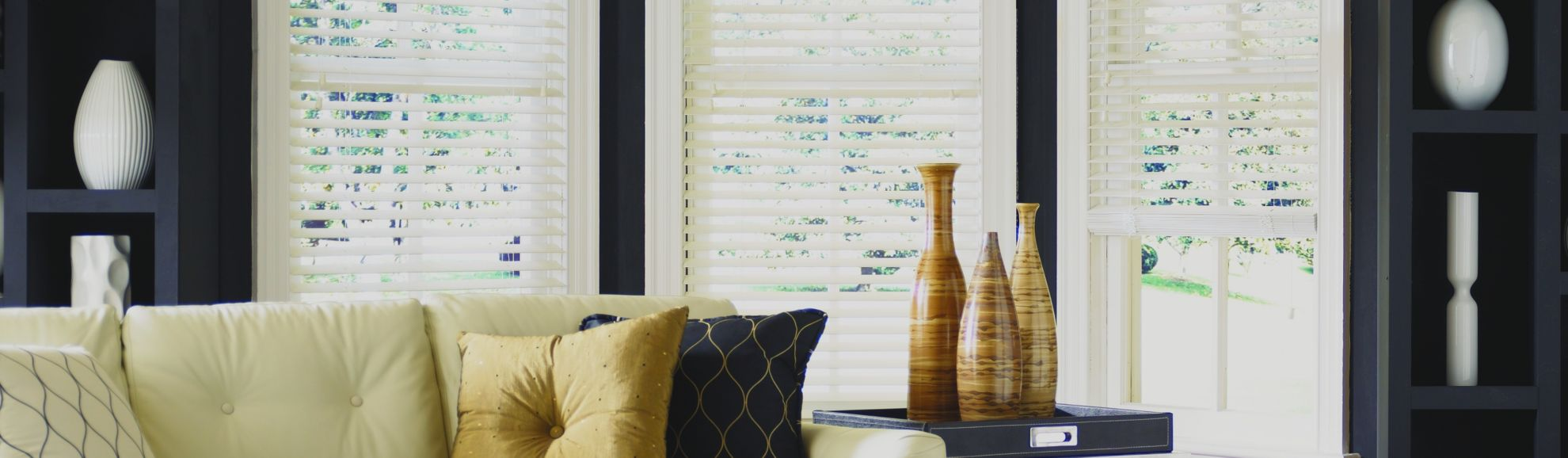 Composite Wood Blinds - Alaskan Cream 231 - Living Room